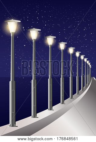 Starry Sky Night Time Sea Side Light Poles Alley