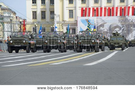 SAINT PETERSBURG, RUSSIA - MAY 05, 2015: The UAZ-469. Rehearsal of parade in honor of Victory Day in St. Petersburg