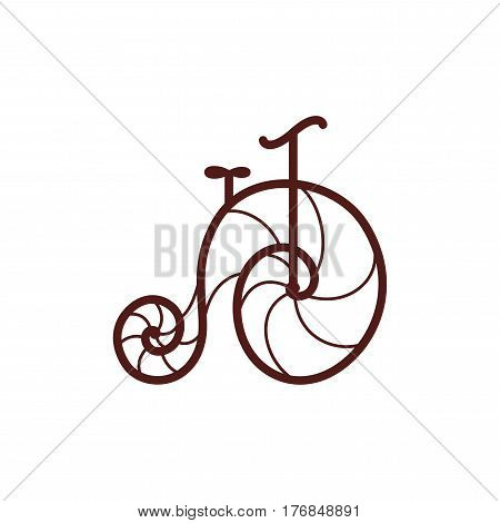 Vector old retro bicycle. Line art bike