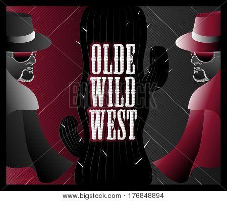 Olde Wild West Gunslinger Duel Vintage Poster