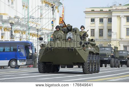 SAINT PETERSBURG, RUSSIA - MAY 05, 2015: The BTR-82A on rehearsal of parade in honor of Victory Day. Saint Petersburg