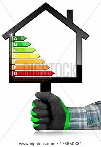 Hand with work glove (photo) holding a black sign in the shape of a house (3d illustration) with energy efficiency rating. Isolated on white background