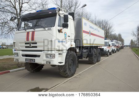 SAINT PETERSBURG, RUSSIA - MAY 05, 2015: Car rescue emergency center on the basis of KAMAZ-43118