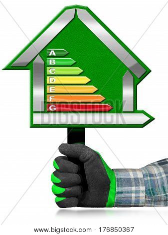 Hand with work glove (photo) holding a green sign in the shape of a house (3d illustration) with energy efficiency rating. Isolated on white background