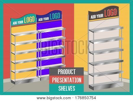 Three Colorful Promotional Blank Product Presentation Shelves
