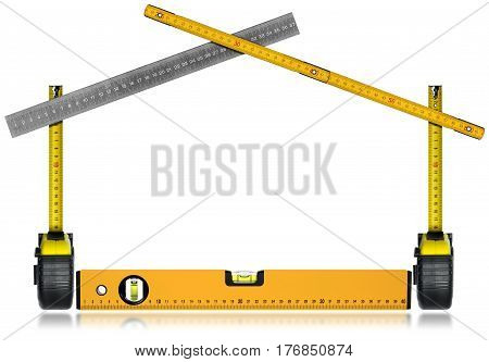 Work Tools in the Shape of a House - tape measures metal ruler wooden folding ruler and a spirit level. Isolated on white background