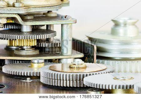 Closeup Of Mechanical Gears Cogwheels Mechanism
