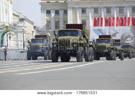 """SAINT PETERSBURG, RUSSIA - MAY 05, 2015: Column BM-21-1 (MLRS """"Grad"""") at the rehearsal of parade in honor of Victory Day"""