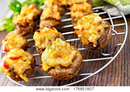 Champignons Stuffed Meat On Lattice With Parsley