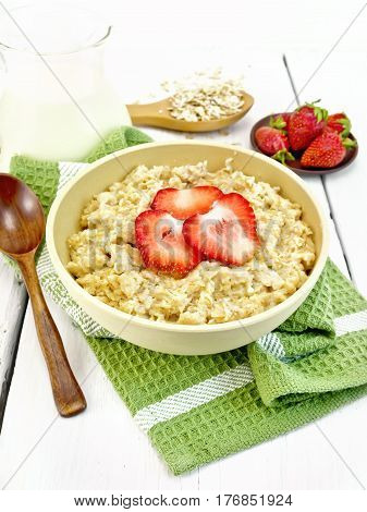 Oatmeal With Strawberries On Green Napkin