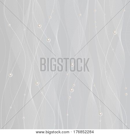 Beautiful white tulle with pearls on grey background