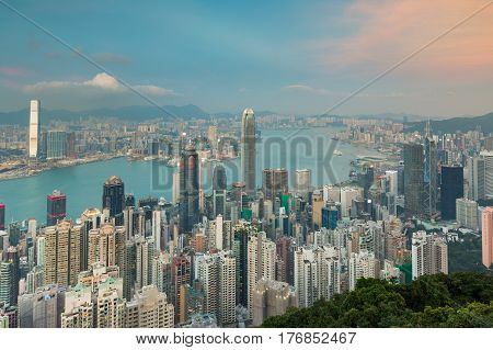 Aerial view city office building business downtown Hong Kong city over Victoria Bay