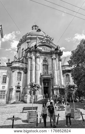 Lviv Ukraine - August 15 2016: Dominican Cathedral church in Lviv Ukraine. Black and white