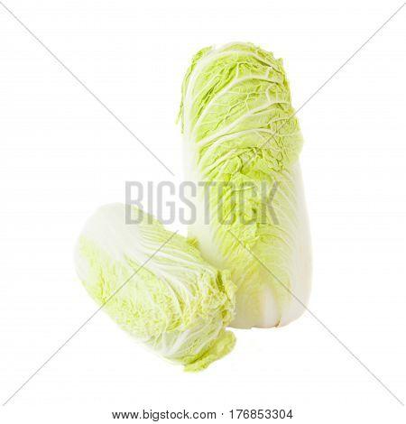 Fresh Light Green Napa Cabbage, Isolated On White