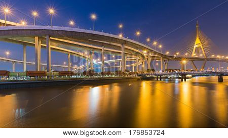 Rama9 Suspension bridge river front night view with clear twilight sky background