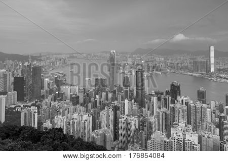 Black and White City downtown business downtown Hong Kong over Victoria Bay