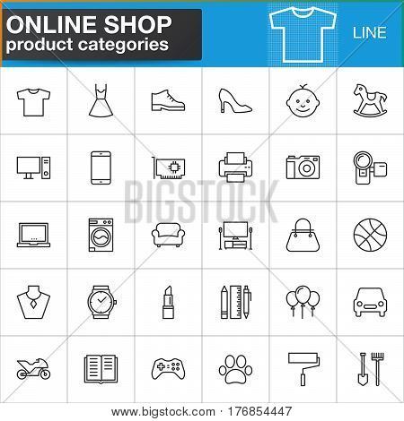 Online shopping product categories line icons set outline vector symbol collection linear style pictogram pack. Signs logo illustration. Set includes icons as clothes shoes computer electronics