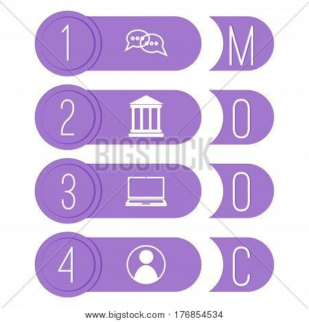 Mooc icons. Stock vector illustration with infographics elements on massive open online course. e-learning.