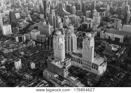 Black and White aerial view Bangkok city central business downtown Thailand