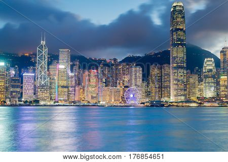 Hong Kong city central business downtown at twilight sea front cityscape downtown background