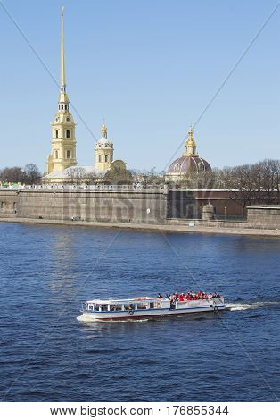 SAINT PETERSBURG, RUSSIA - MAY 04, 2015: River walk about the fortress. Saint Petersburg