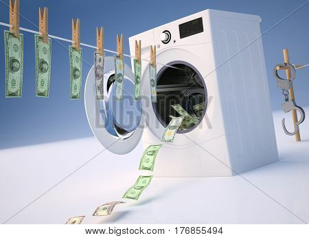 Concept of money laundering money hanging on a rope coming out of the washing machine money jump into the washing machine. 3D illustration