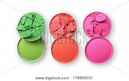 Round Colored Crashed Eyeshadow For Makeup As Sample Of Cosmetic Product