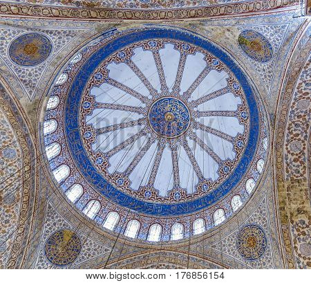 Ceiling Inside The Blue Mosque In Sultanahmet, Istanbul, Turkey.