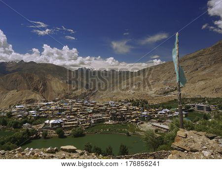 Sacred Lake of Nako in the High-Altitude Mountain Desert of the Spiti Valley in the Himalayas, Northern India.