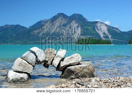 door bow in water with mountain landscape in background