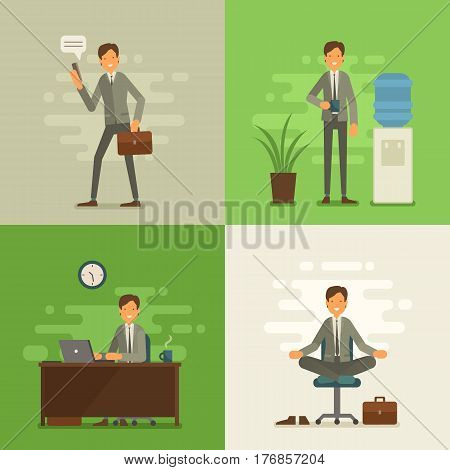 Cool Vector Flat Design Business Characters. Corporate Specialists Friendly Smiling. Man Going To Wo