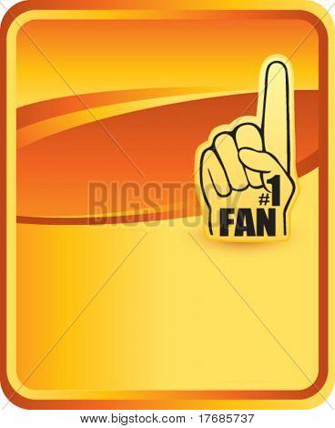 number one fan foam hand on orange background