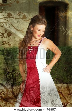 Grunge Beautiful Smiling Bride In Red And White Dress