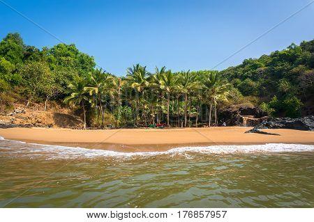 Paradise beach om beach Gokarna India. beautiful seascape with empty beaches and clean sand