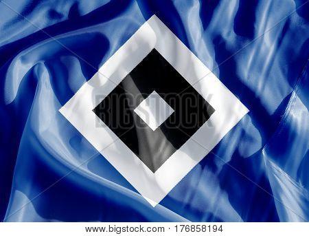 Hamburg, Germany - March 18, 2017 - German football club Hamburger SV emblem On a flag by Volker Schlichting