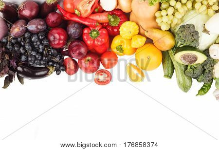 Set Of Multicolored Vegetables And Fruits, Isolated