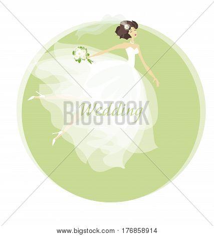 bride wedding dress concept vector illustration. spring pastel color woman in white dress. marriage celebration