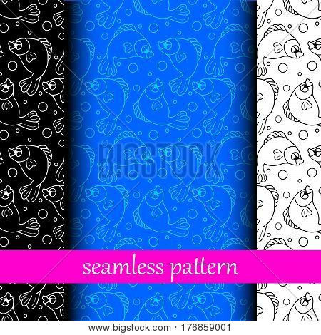 set of black, blue, white seamless pattern with fish. vector