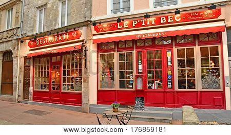 Rouen France - november 26 2016 : restaurant in the historical city center