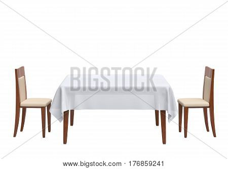 Table for two isolated on white background. 3D rendering
