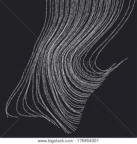 Abstract rain drop in concept style. dynamic emitted particles array. Vector Illustration. Modern geometry luxury design for card, header, web-banner, wallpaper.