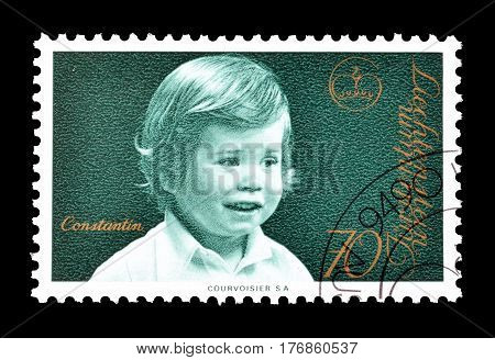 LIECHTENSTEIN - CIRCA 1975 : Cancelled postage stamp printed by Liechtenstein, that shows Prince Constantin.