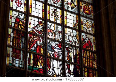 Reims, France - September 19, 2014: Stained Glass Window Of The Cathédrale Notre-dame De Reims
