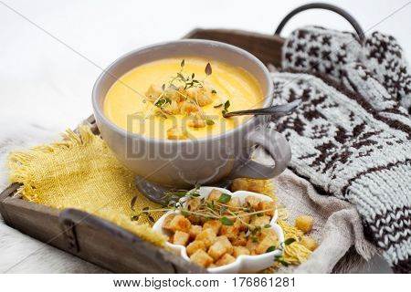 Winter soup with sweet potatoes and carrot