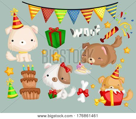 a cute dog celebrating birthday with many gift