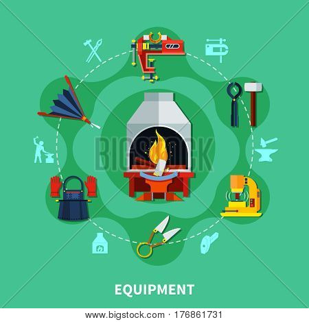 Blacksmith equipment composition with flat colorful icons of forging furnace scissors hammers vise and smiths uniform vector illustration
