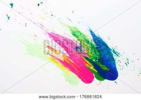 Abstractionism, creative modern painting, abstract art on white background. Bright colors, festival holi colorful explosion, spring tradition.