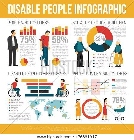 Disabled people infographic set with social protection symbols flat vector illustration