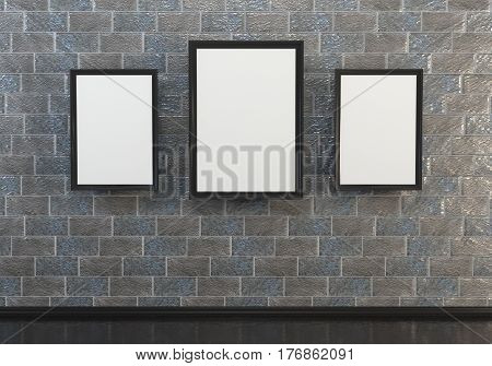 3D abstract interior illustrations. Simple stone brick with three empty wooden frame with black-and-white canvas.