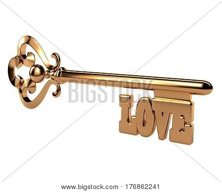 Abstract 3D golden key with the word LOVE on white background. Isolated object